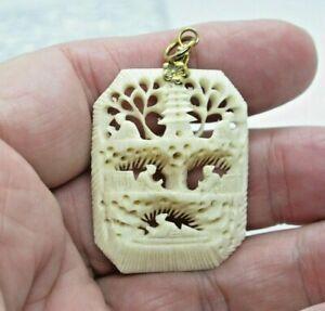 Vintage Japanese Carved Scene Pendant