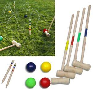 Erwachsenen Krocket Croquet Gartenspiel Holz Spiel für 4 Spieler Krocketspiel