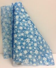 "Blue Sheer Snowflake Embossed Fabric Roll.18 1/2"" W x 3 yds TableRunner~Bows~etc"
