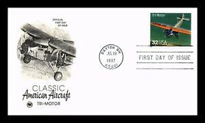US COVER TRI-MOTOR CLASSIC AMERICAN AIRCRAFT FDC SCOTT 3142