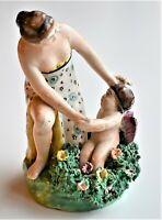 Antique Staffordshire Pottery Pearlware Figure Venus Cupid 12cm tall c.1815