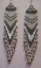 "Black White Silver Dangle Seed Bead Earrings Handmade USA By Me Native Style 5+"""