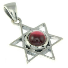 Small Star of David Silver Pendant w Garnet Stone, 925 Solid Sterling Silver,