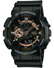 Casio GA110RG-1 Men's Ana-Digi Rose Gold Accent Alarm Chrono Black G Shock Watch