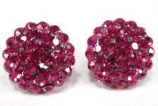SoHo® Ohrclips große Halbkugel Strass pink fuchsia geschliffene Kristalle kugel