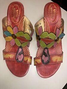 Spring Step - Papaya EUR 40 US 9 Red Floral Heel Rhinestones Leather Sandals