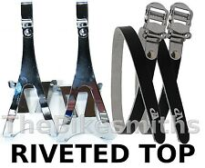 CHROME STEEL LARGE Toe Clips & BLACK Leather Straps Track Fixed Gear Road Bike