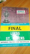 Leeds V St Helens programa 13.5.72 Taza de desafío final Wembley