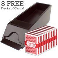 8 Deck Wooden Blackjack Dealer Shoe & 8 Decks of Playing Cards Value Bundle