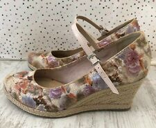 Marco Tozzi Wedge Floral Metallic Mary Jane Wedge High Heels EU 38 UK 5