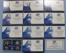 1999 - 2008 2009 Complete Run of 11 State Quarter Proof Sets with Boxes and COAs