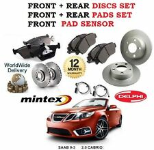 FOR SAAB 9-3 93 2.0 CABRIO 2003-2011 FRONT + REAR BRAKE DISC SET +  PADS + LEAD