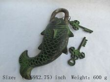 Chinese ancient Tibet copper door lock. Fish locks c01