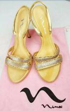 Nina Women Shoes Heels Party Prom Clubwear Slingback Gold Size 8.5M Open Toe