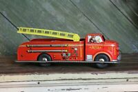 Vintage MARX Fire Truck Friction Toy Tin Litho Pressed Steel Bells Siren Ladder