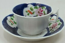 Antique Gaudy Welsh Columbine Pattern Cup and Saucer Duo