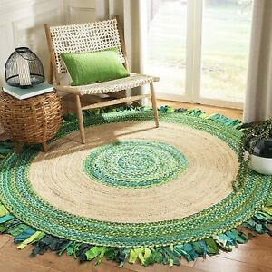 Rug Natural Jute & Cotton Braided Style Round Rug area Carpet Modern Living Rugs