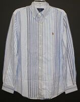 Polo Ralph Lauren Mens XL Blue Striped Slim Fit Button-Front Shirt NWT Size XL