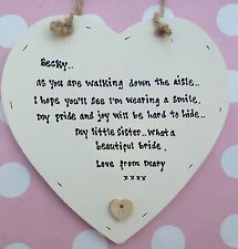 Shabby Personalised Chic Present for The Bride Gift For Sister On Her Wedding..