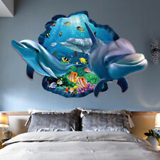Sticker Autocollant 3D Dauphins Vue Art Mural Décor Enfant Chambre Amovible Mode