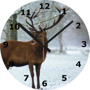 WALL CLOCK STAG 25cm Deer Animal Wildlife Nature Home Decor diy Decoration 1086
