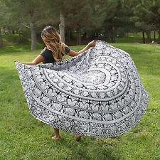 Elephant Round Mandala Tapestry Wall Hanging Beach Throw Hippie Yoga Mat Indian
