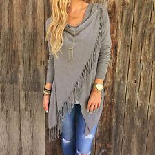 Women Irregular Tassel Cardigan Long Sleeve Outwear Sweater Boho Poncho Knit Top