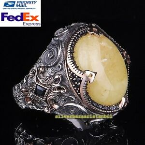 Natural Drop Amber Stone Heavy Yellow Mens Ring All Size