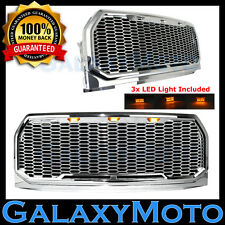 15-17 Ford F150 Raptor Conversion Chrome Replacement Mesh Grille+Shell+LED light