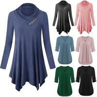 Womens Long Sleeve Tunic Tops Irregular Hem Casual Flare Blouse T Shirt UK