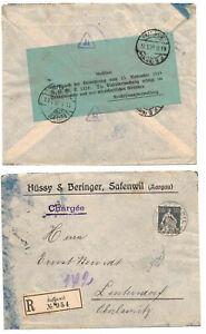 R-Brief Safenwil Schweiz 1923 Vignette Geöffnet Zensur Verordnung 1918 ! (B7