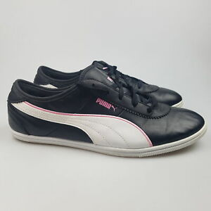 Women's PUMA 'Whitley' Sz 10 US Shoes Black White VGCon Lethr | 3+ Extra 10% Off
