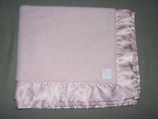 BABYGAP BABY GAP GIRL PINK PLUSH BLANKET SATIN TRIM BRANNAN TEDDY BEAR TAG