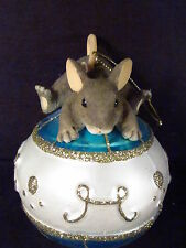 Charming Tails Mouse Laying On Christmas Ball Ornament Part Glass