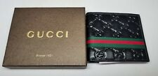 GUCCI Men's Black Leather Bifold Wallet Green & Red Stripe NWT Box