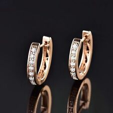 Beautiful 18ct Yellow Gold Filled White Sapphire Crystal U Shape Huggie Earrings