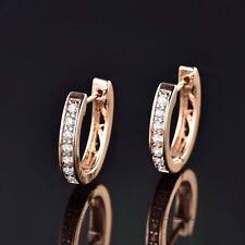 Beautiful 18ct Yellow Gold Filled White Sapphire Crystal U Shape Huggie Earrings