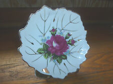 Vintage Moss Rose Plate Trinket Dish 5 1/2in Leaf Shaped White Rose Gold Trim