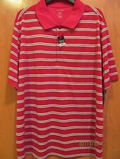Mens Size Medium (38-40)~Red w/Gray Stripes Performance Polo Shirt~New with Tags