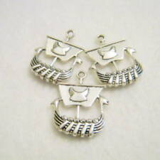 3 Viking Pirate Ship Silver Tone Charms, 27x22mm, Jewelry Supplies, Charms G1273