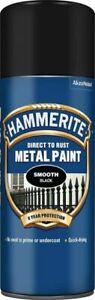 Hammerite SMOOTH BLACK Direct to Rust Metal Spray Paint Aerosol 400ml