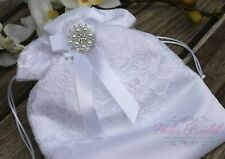 Beautiful White Bridal Lace Flower Cosmetic Bag, Wedding Money Purse with Brooch