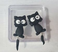 One Pair of Black Cat Polymer clay 925 SILVER Pin stud  Earrings..Dangle tail.
