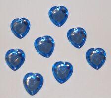 25pc Heart Light Blue 13mm Plastic Rhinestone Gemstones Beads w/ Holes