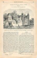 Château de Dry-Thoren (trois portes) à Perck Belgique België GRAVURE PRINT 1866