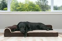 FurHaven Pet Cooling, Orthopedic, Memory Foam Two-Tone Faux Fur L-Chaise Dog Bed