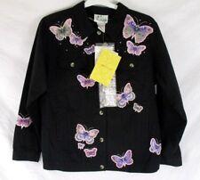 Quacker Factory Women Embellished Jacket Sz S Butterfly Black CC602 New w/Defect