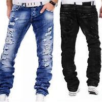 Men Casual Ripped Distressed Jeans Pants Biker Wash Blue Straight Denim Trousers