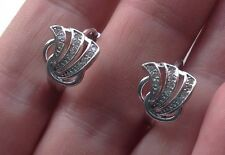 18K White gold Art Deco Style Hoop Earrings 346