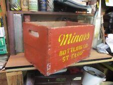MINAR'S wooden BEVERAGE soda CRATE pop wood carrier ST CLOUD MN VINTAGE BOX